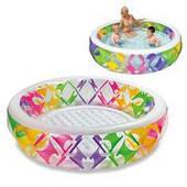 Семейный надувной бассейн Intex, 56494 с цветными вставками и надувным дном
