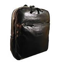 Рюкзак кожаный для учебы и города черный GS118, фото 1