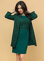 Вечерний комплект: платье с жакетом темно-зеленого цвета. Р 42-46. Модель 16307