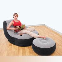 Надувное кресло с пуфиком Intex 68564 (99-130-76 см)