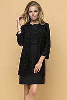 Вечерний комплект: платье с жакетом черного цвета. Р 42-46. Модель 16304