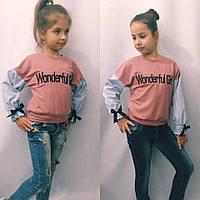 Батник для девочек, ткань двухнить+коттон, с вышивкой, рост 122,128,134,140 см