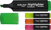 Маркер текстовыделитель (Highlighter, Delta by Axent, 1-5 мм скошенный розовый, D2501-10)