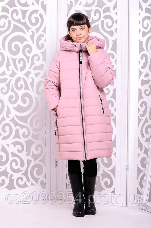 Зимнее пальто для девочки «Ангел», розовое