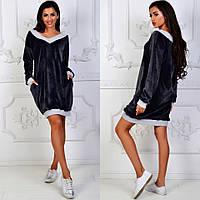 """Спортивное теплое платье """"Leona"""" из велюра и отделкой из кошкорсе (1 цвет)"""