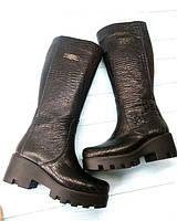Сапоги женские Allure демисезонные/зимние кожаные тракторная подошва черные AL0118