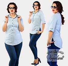 Женская рубашка в полоску Батал