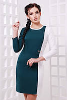 Платье Aster темно-зеленый+белый