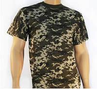 Мужская футболка хаки  камуфляж пиксель милитари