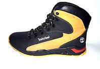 Мужские ботинки Timberland зимние кожа черно-желтые 0036ТМ