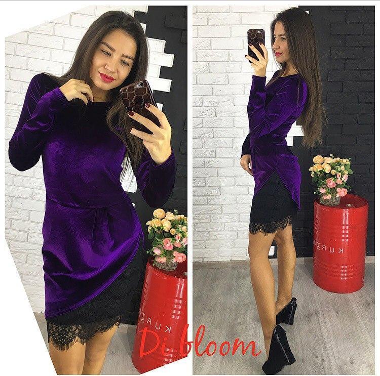 Платье бархат люкс качества +гипюр 4 цвета
