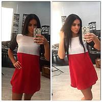 Платье бело-красное с черным коротким рукавом размер 42-56