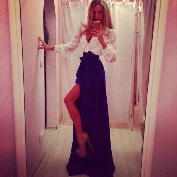 Платье бело-синее длинное,