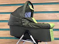 Универсальная детская коляска для двойни  2 в 1 Jumper Trans Baby Duo 12/Q1, оливка+салат