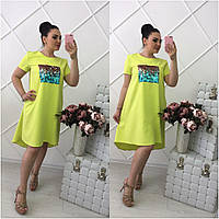 Платье большого размера , ткань костюмка, паетки пришиты, фото 1