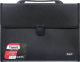 Портфель Axent А4 3 отделения пластик замок черный (1601-01-A)