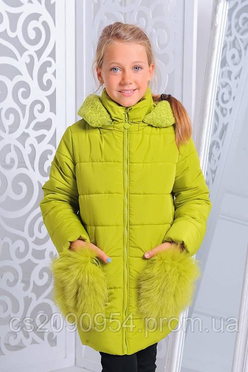 Зимняя куртка для девочки «Сандра», лайм
