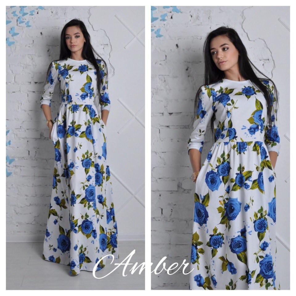 Платье в пол длинное в розах
