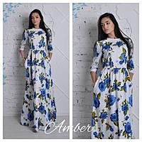 Платье в пол длинное в розах, фото 1