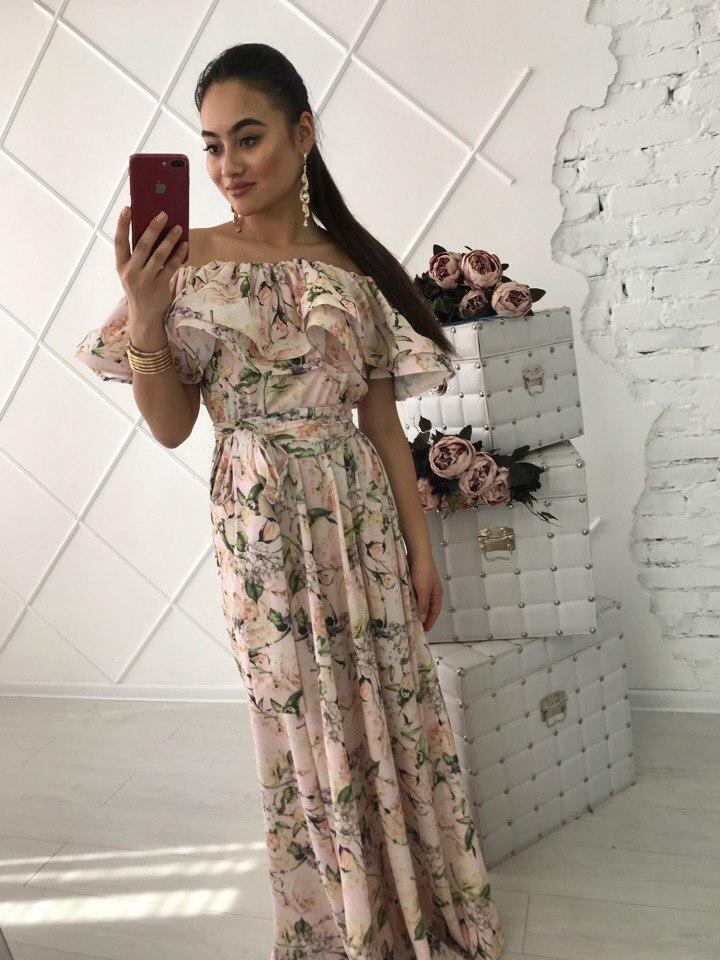 Платье в пол КОСТЮМКА СОФТ верх рюши 42-46
