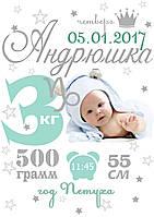 Метрика Гороскоп Андрюша для мальчика/девочки (укр/рус/en)