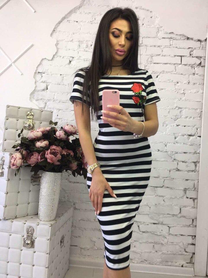 Платье в полоску с розой  вискоза С и м