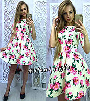 Платье в розах с подъюбником