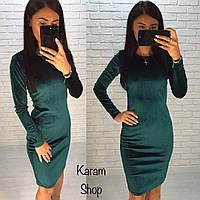Платье велюр длинный рукав 42-60, фото 1