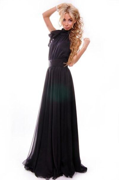 Платье верх завязка черное из двойного  шифона, р 42-58