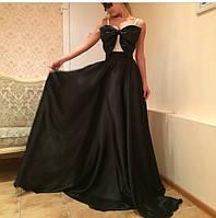 Платье вечернее черная юбка и бант на груди,с чашками,р 42-58