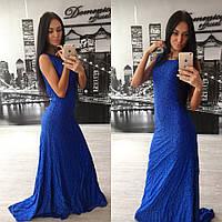 Платье длинное синее гипюровое. любой цвет размер 42-60