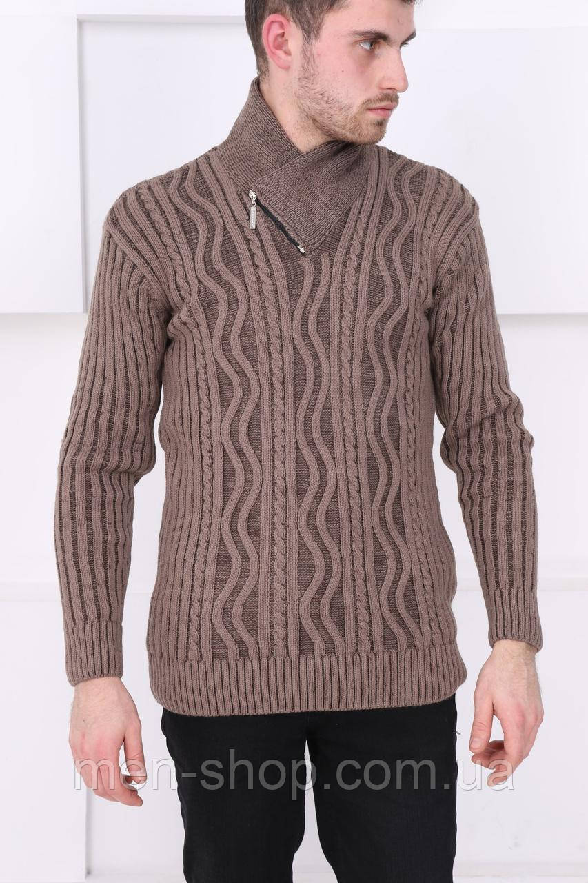 Свитер для мужчин с горловиной коричневый
