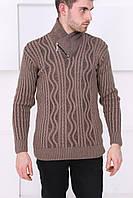 Свитер для мужчин с горловиной коричневый, фото 1