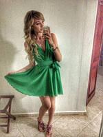 Платье короткое шифоновое на запах, без рукавов,цвет любой, р 42-58