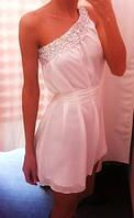 Платье короткое шифоновое на одно плечо-камни,цвет любой, р 42-58