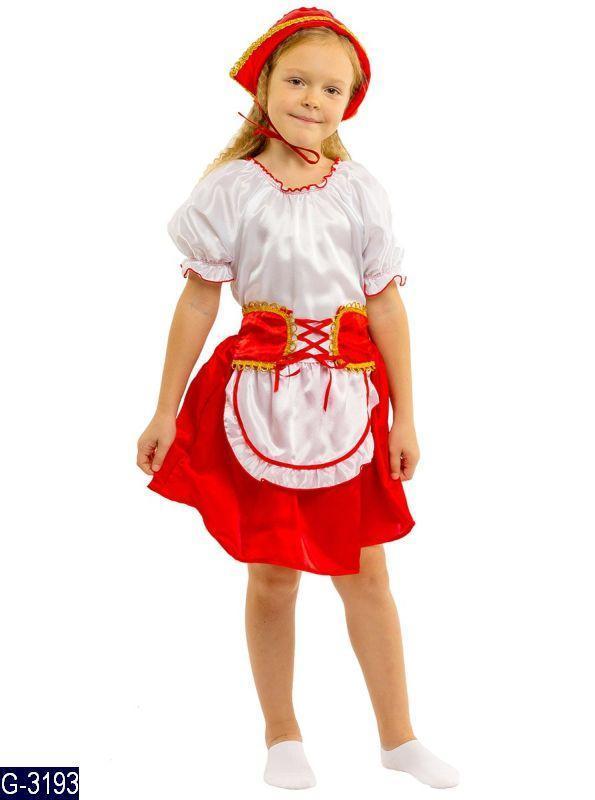 Карнавальный костюм КРАСНАЯ ШАПОЧКА для девочки 4,5,6,7,8,9 лет детский маскарадный костюм КРАСНОЙ ШАПОЧКИ