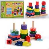 Деревянная игрушка Пирамидка MD 0056 (36шт) 3шт на площадке, 16 геом деталей, 22-15,5-7см