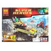 Конструктор BELA 10238 (30шт) Супергерои, транспорт 2шт, фигурки 3шт, 171дет, в кор-ке, 26-19-6см
