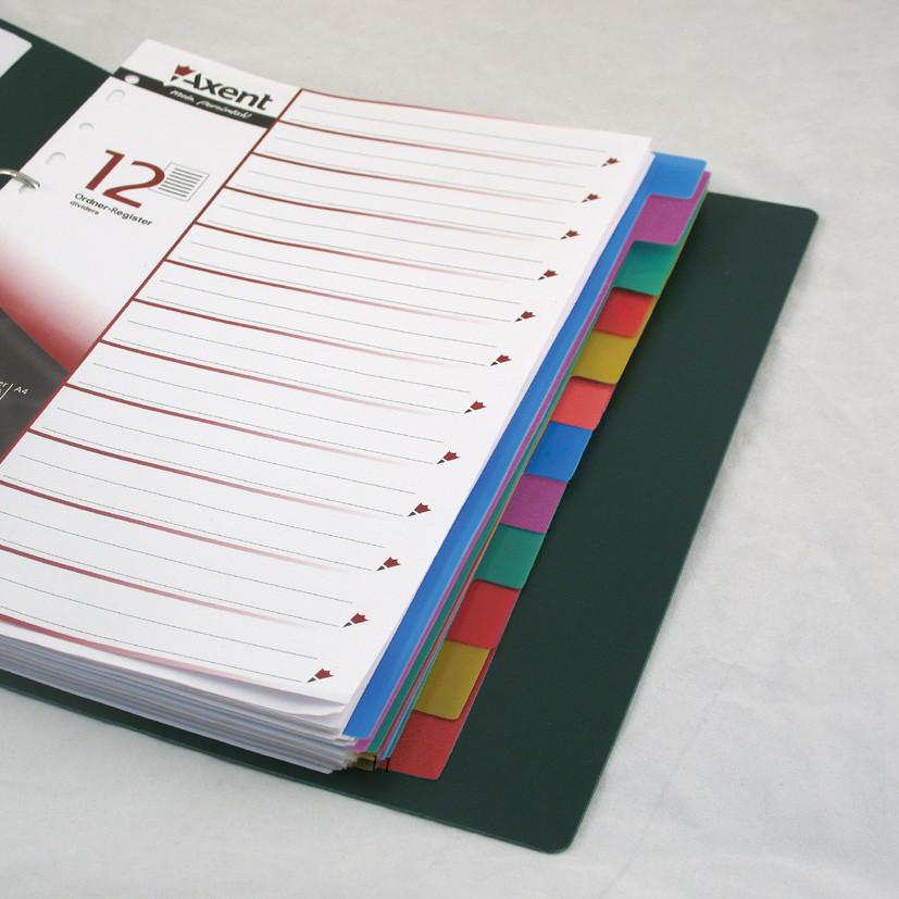 Разделители страниц Axent 12 разделов разделители страниц пластиковые 1912-01-А
