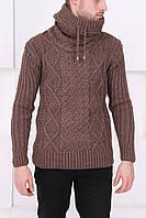 Свитер для мужчин с воротником  коричневый