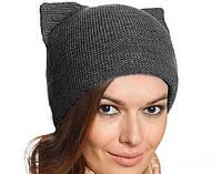 Женская зимняя шапка Кошка двойная вязка, цвет графит