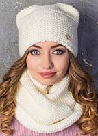 Женская зимняя теплая шапка Ушки на флисе, цвет молочный