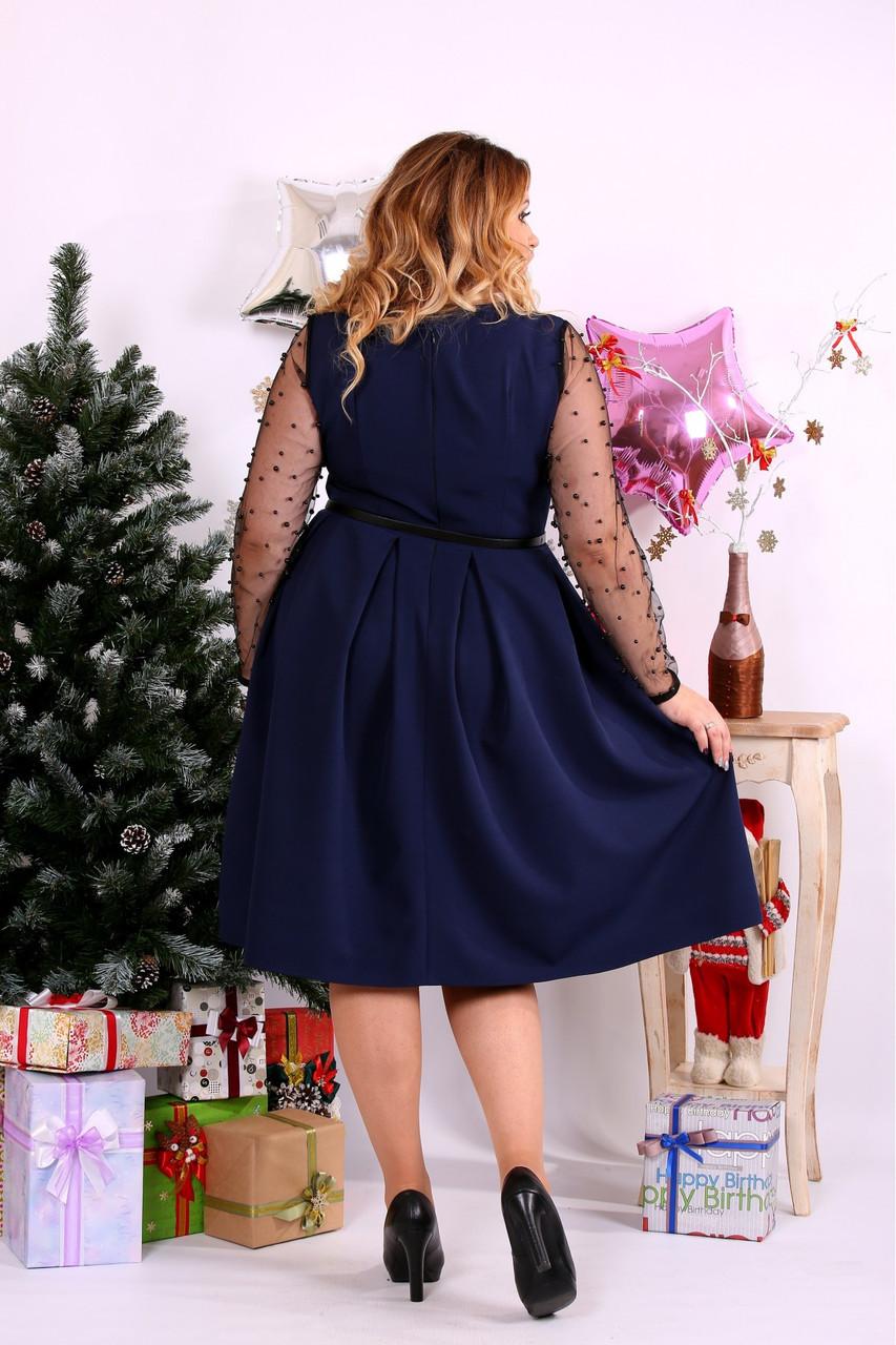 a24b86a4d59 ... Женское шикарное платье для праздника 0665 цвет синий   размер 42-74    большой размер