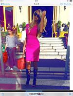 Платье розовое  грудь V-вырез, ткань джерси