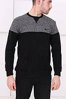 Мужской черный свитер с серым