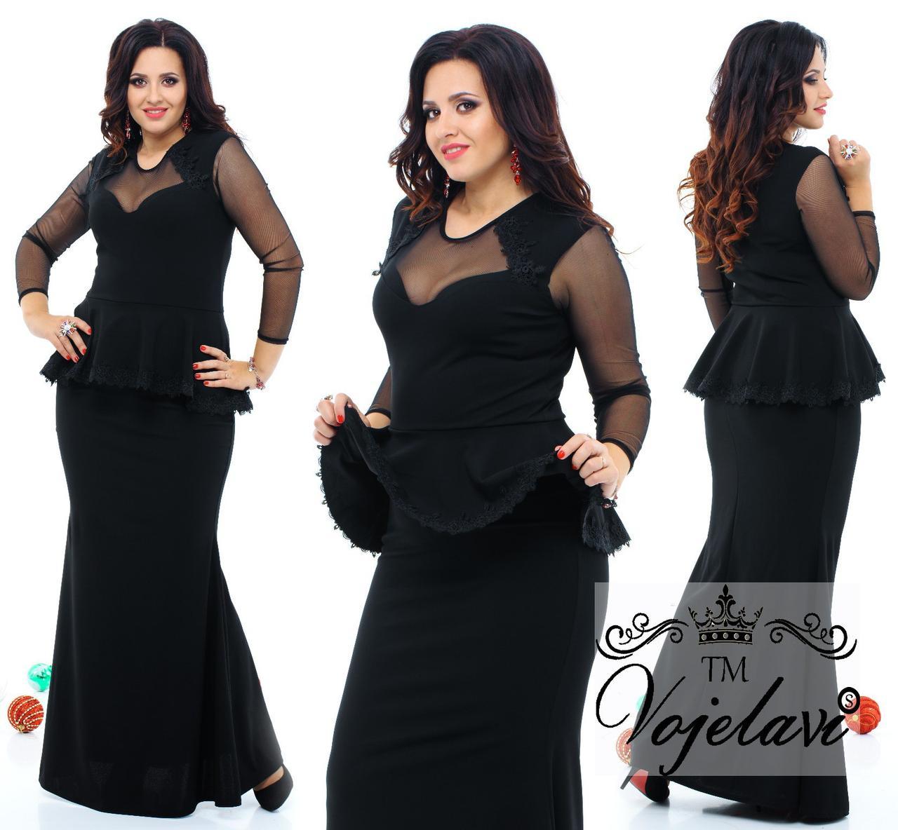 4393dca8acb5ee6 Вечернее платье с баской, сеткой и кружевом. 4 цвета. Р-ры: 48, 50 ...