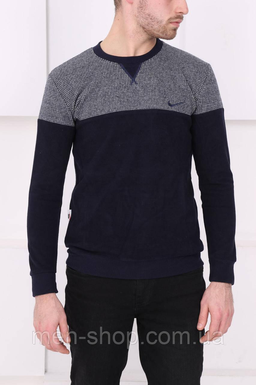 Мужской синий свитер с серым