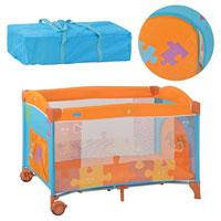 Манеж M 1703 (1шт) детский,2 колеса с тормозом,боковой карман,змейка,оранж-голуб,в сумке,127-83-71см