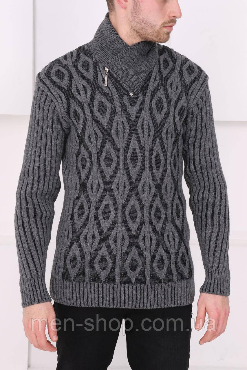 Мужской серый свитер с узором
