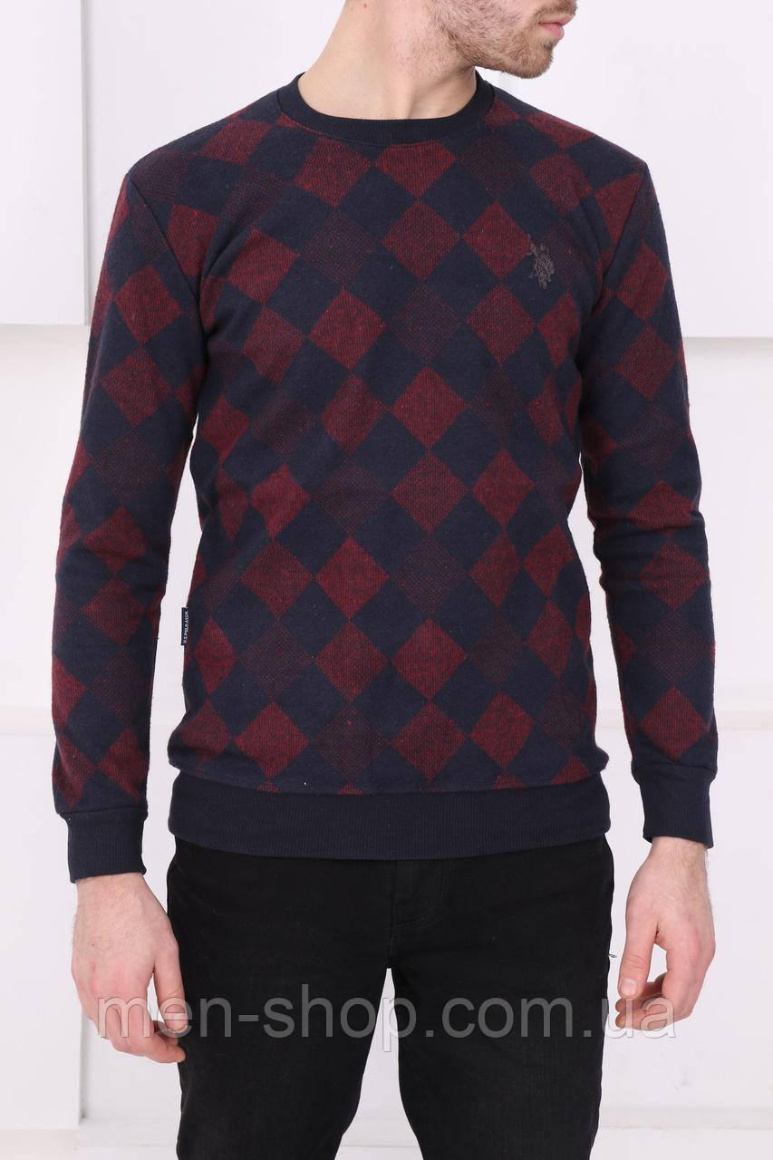 Мужской синий клетчатый свитер